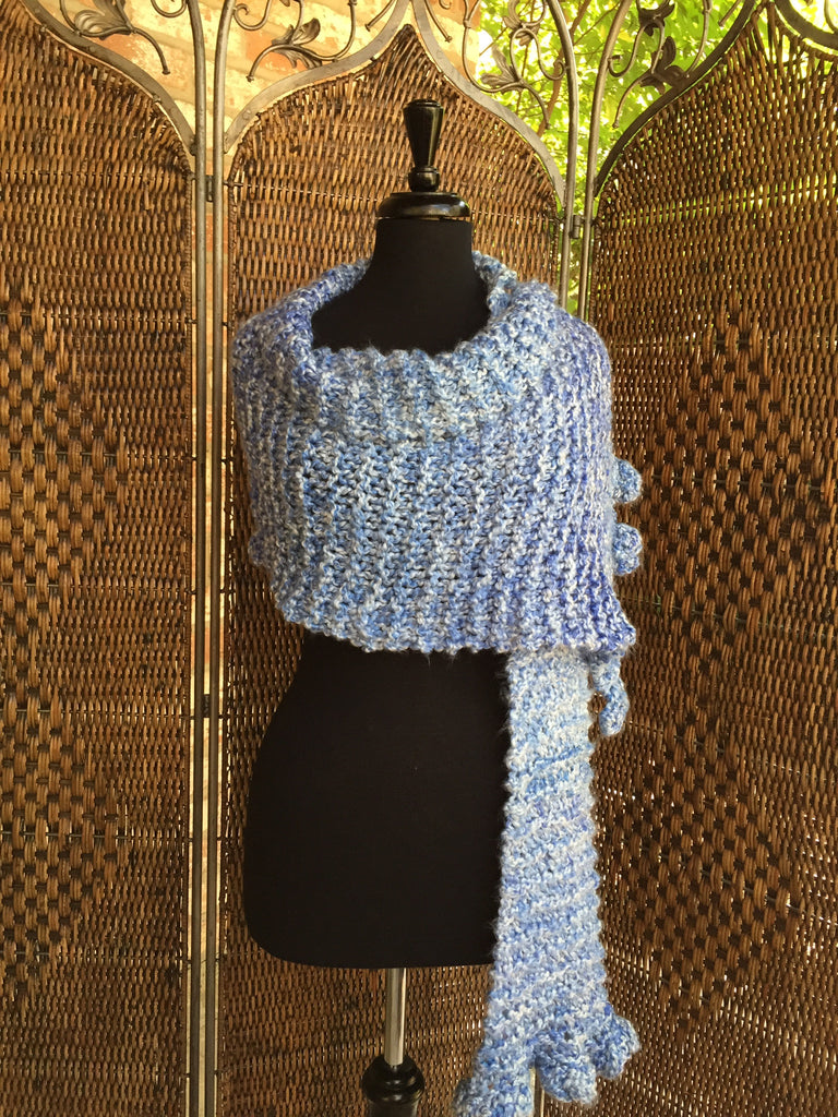 """Delft Blue"" - Rectangle Ruffle Wrap"