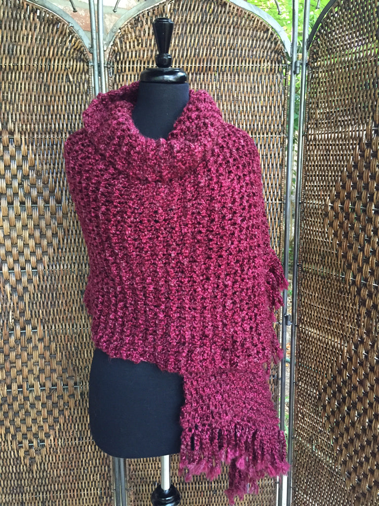 """Claret"" - Rectangle Fringe Wrap"