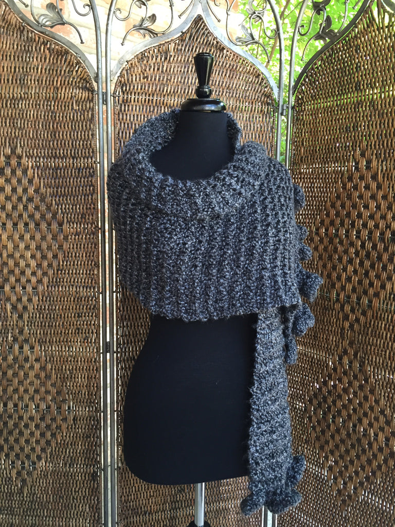 """Edwardian Gray"" - Rectangle Ruffle Wrap"