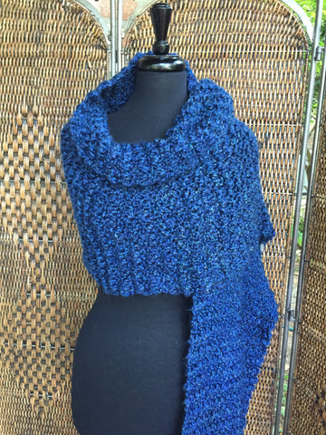 """Colonial Blue"" - Rectangle Fringe Wrap"