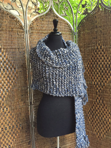 """Blue Moon"" - Rectangle Fringe Wrap"