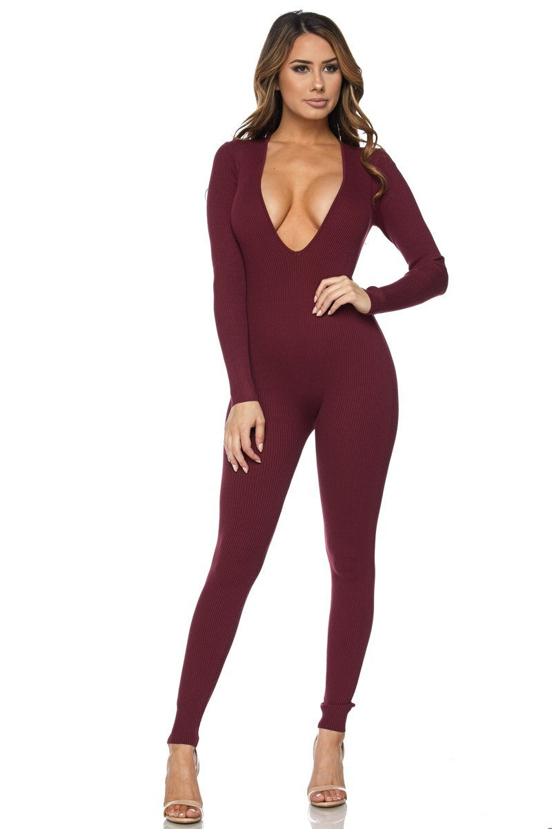 WOMENS HERA COLLECTION JUMPSUIT - BURGUNDY