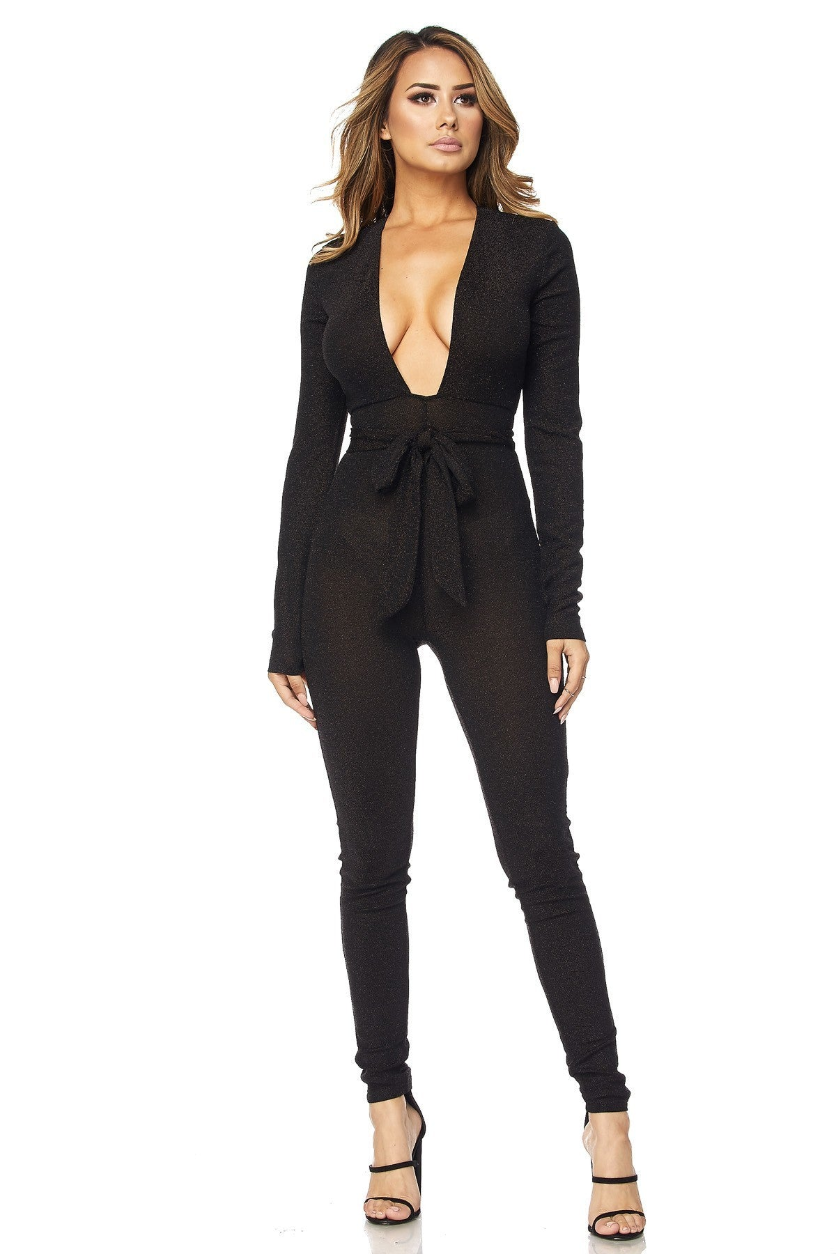 WOMENS HERA COLLECTION JUMPSUIT - BLACK SPARKLE