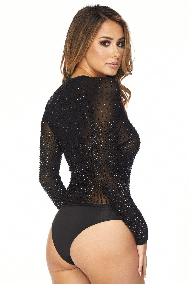 WOMENS RHINESTONE BODYSUIT - BLACK - BANJUL COLLECTION