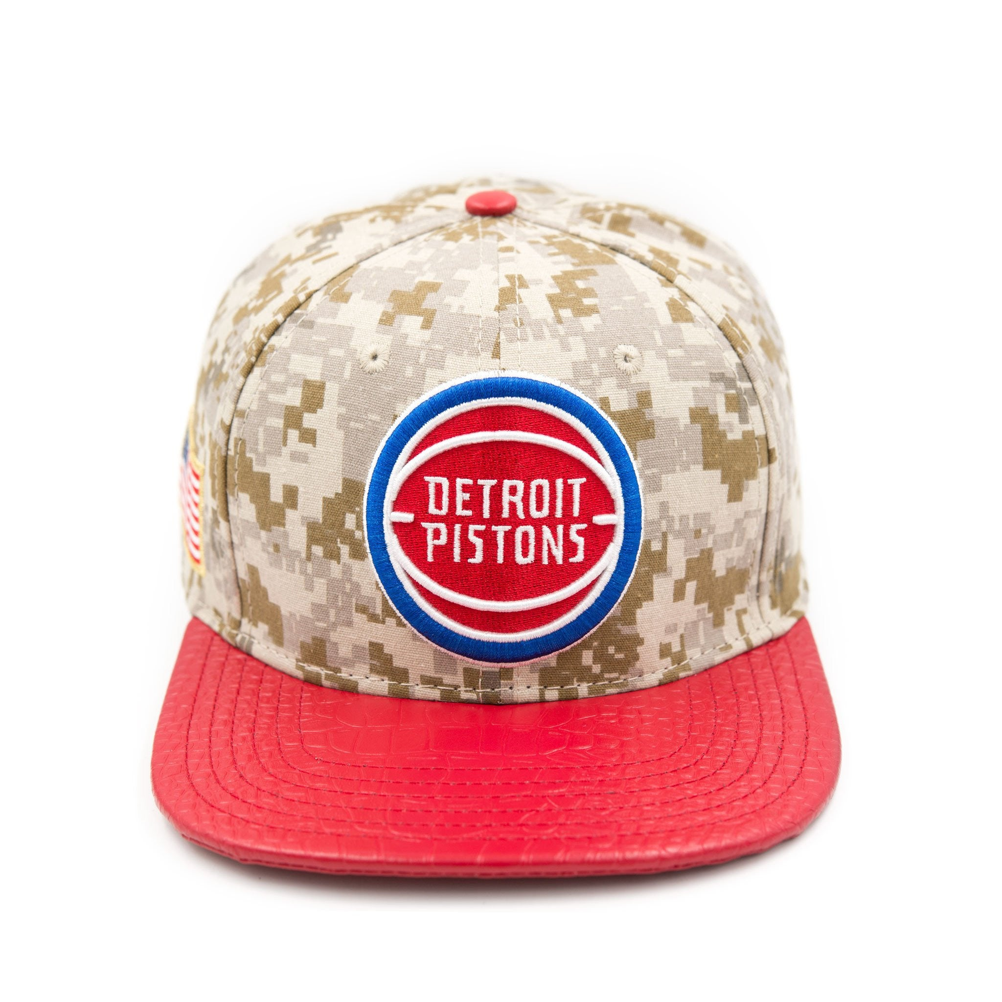 DETROIT PISTONS RETRO TEAM LOGO W/ 2 GOLD PINS DIGI CAMO