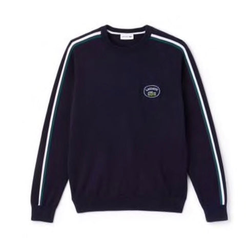 LACOSTE CREW NECK CONTRAST ACCENT SWEATER - AH9185