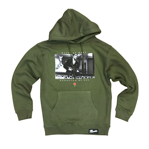 MUERTE HUSTLE DAILY HATED BY MANY HOODIE - OLIVE GREEN