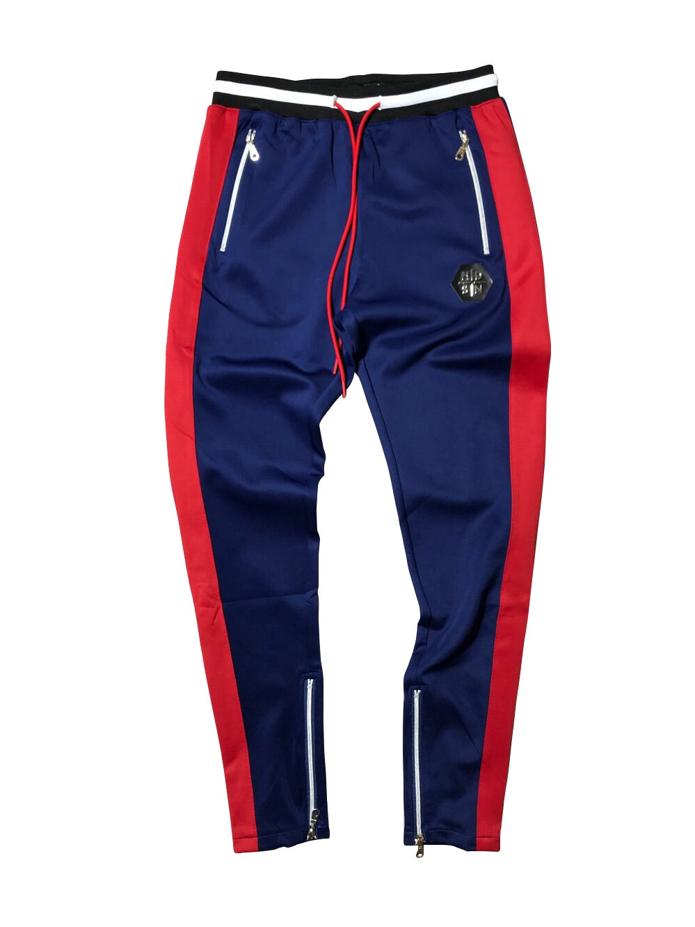 HUDSON TRACK PANTS - NAVY/RED