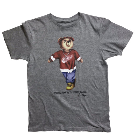 DIRT LABEL TUPAC BEAR TSHIRT- GREY