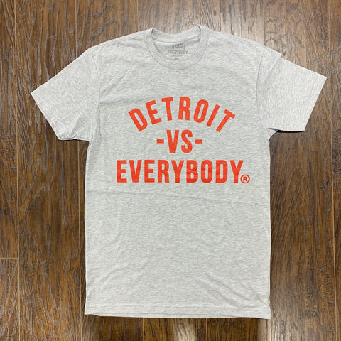 DETROIT VS EVERYBODY T SHIRT GREY/ RED