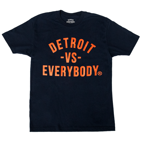 DETROIT VS EVERYBODY T-SHIRT NAVY/ORANGE