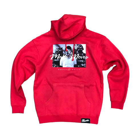 MUERTE HUSTLE DAILY MAKE MOVES HOODIE - RED