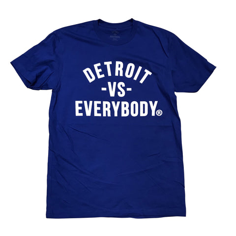 DETROIT VS EVERYBODY T-SHIRT ROYAL/WHITE