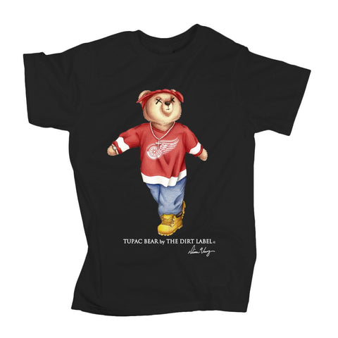 DIRT LABEL TUPAC BEAR T-SHIRT- BLACK
