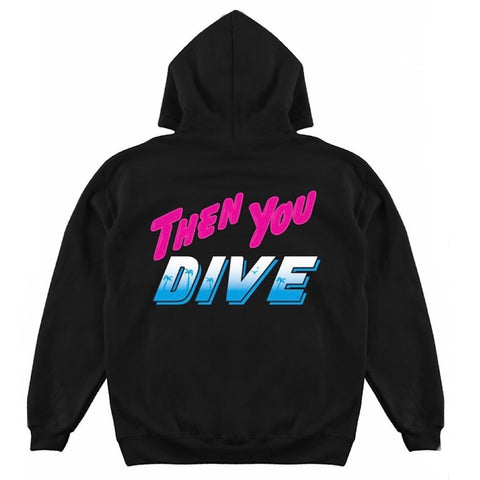 PINK+DOLPHIN HOODIE BEACH LIFE BLACK