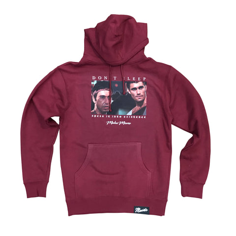 MUERTE HUSTLE DAILY DON'T SLEEP HOODIE - BURGUNDY