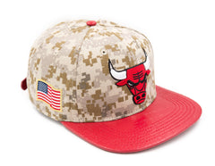 CHICAGO BULLS LOGO W/ 2 GOLD PINS DIGI CAMO