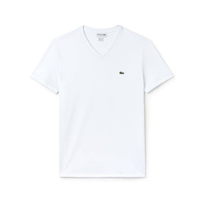LACOSTE V NECK T SHIRT TH7610WHITE