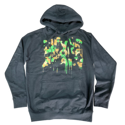 NEVER BROKE AGAIN HOODIE CAMO DRIP BLACK