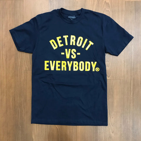 DETROIT VS EVERYBODY T SHIRT NAVY/YELLOW