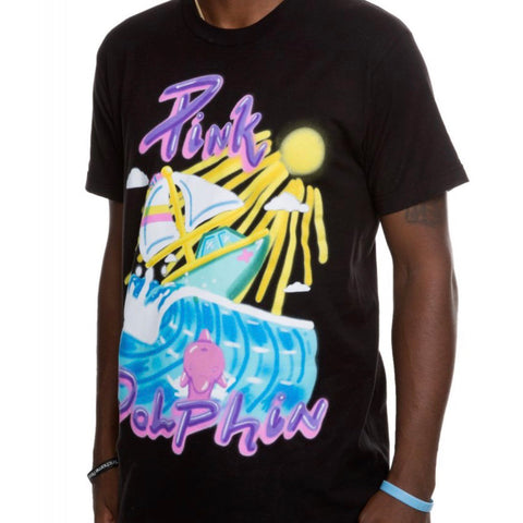 PINK+DOLPHIN TEE PORTRAIT AIRBRUSH BLACK