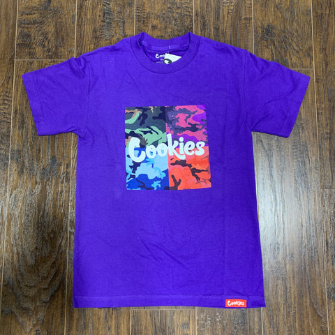 Cookies T Shirt Battalion Multi Camo Purple