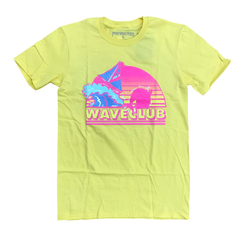 PINK + DOLPHIN WAVE CLUB TEE - YELLOW PS11911BTYE