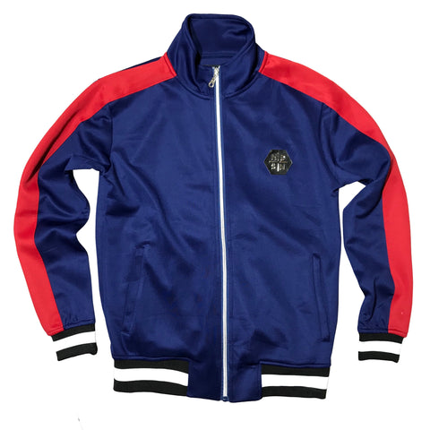 HUDSON TRACK JACKET - NAVY/RED
