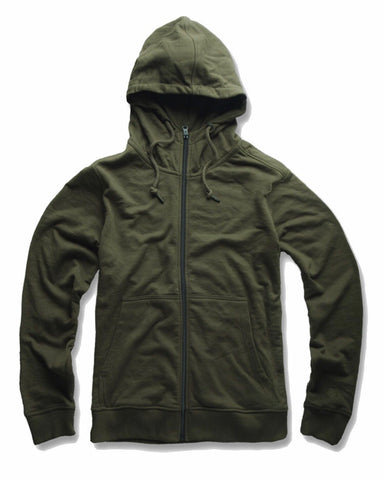 JORDAN CRAIG FRENCH TERRY ZIP UP HOODIE - ARMY GREEN
