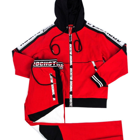 ROCKSTAR JOGGING SUIT RED/BLACK RSM2571