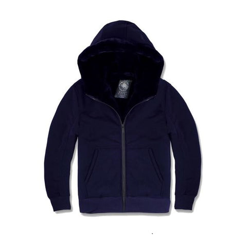 JORDAN CRAIG FUR LINED ZIP UP HOODIE 8280HANAVY