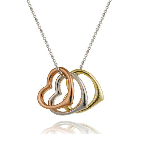 Sterling Silver Tri-Color Open Floating Three Hearts Necklace