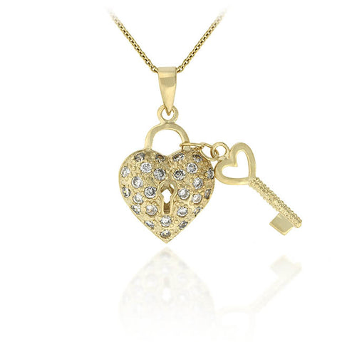 18k Gold over Sterling Sillver Designer-Inspired Heart & Key CZ Pendant