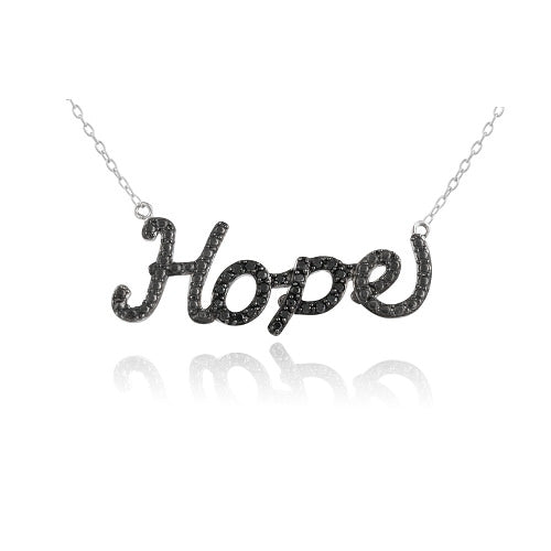 "Sterling Silver 1/4ct Black Diamond """"Hope"""" Necklace"