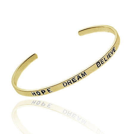 18k Gold over Silver 'Hope, Dream, Believe' Inspirational Bangle