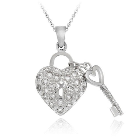Sterling Silver Designer-Inspired Heart & Key Necklace