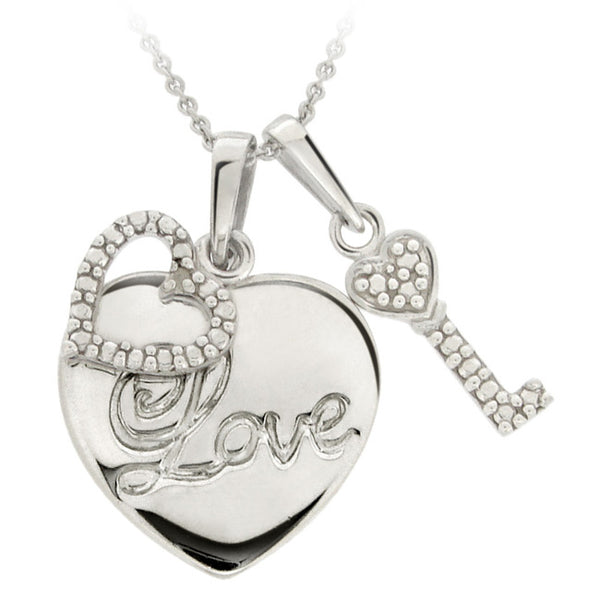 "Sterling Silver Diamond Accent Double Hearts """"Love"""" Pendant"