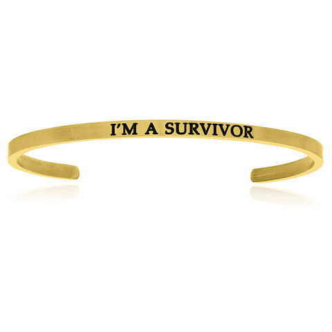 Yellow Stainless Steel I'm A Survivor Cuff Bracelet