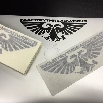 "Industry Vinyl Cut Stickers - 7"" wide"