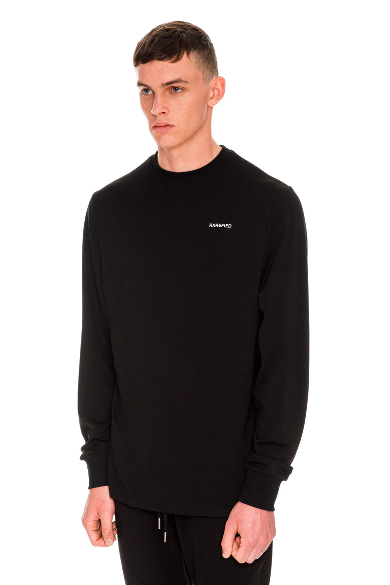 Rarefied Quote Long Sleeve T-Shirt In Black - Left Side View