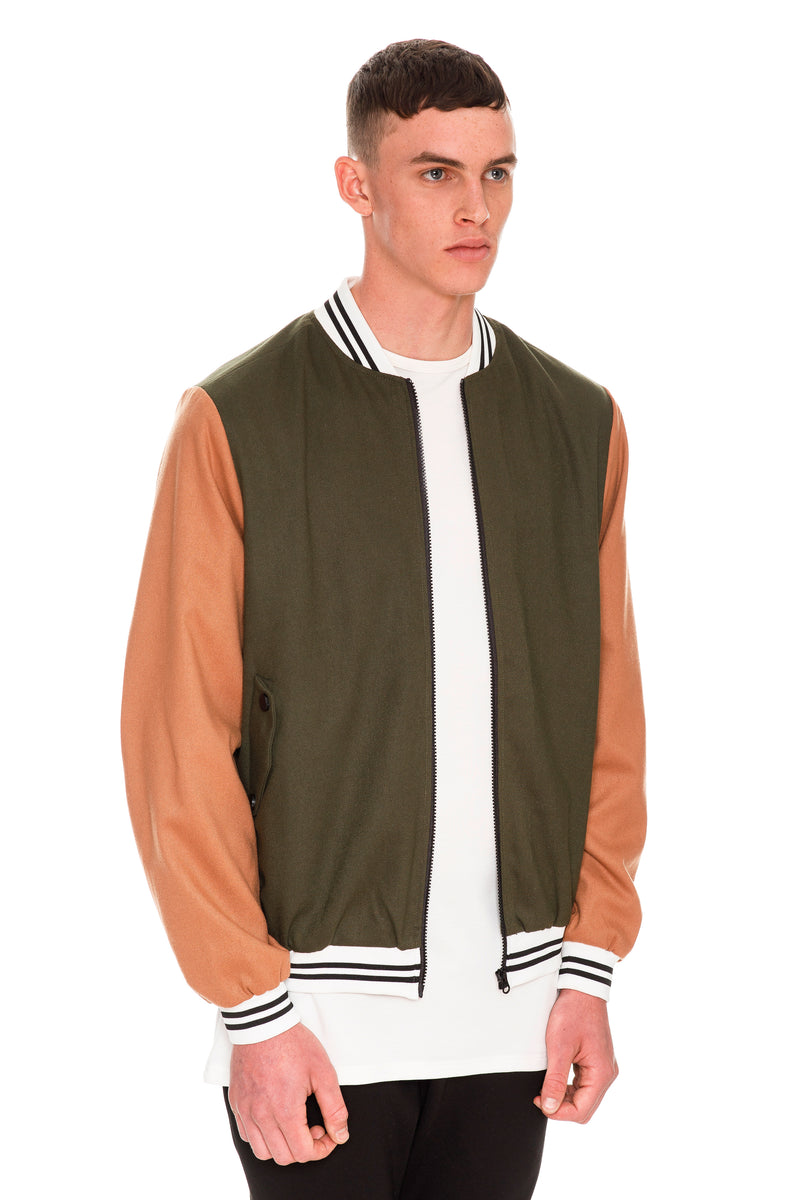 Letterman Bomber - YKK Zip Closure At Front, Pockets At Waist With Snap Buttons