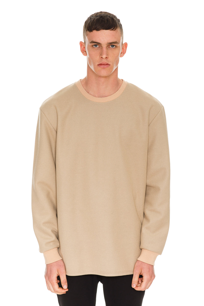 Beige Crewneck Front View - Long sleeve cotton crewneck in beige