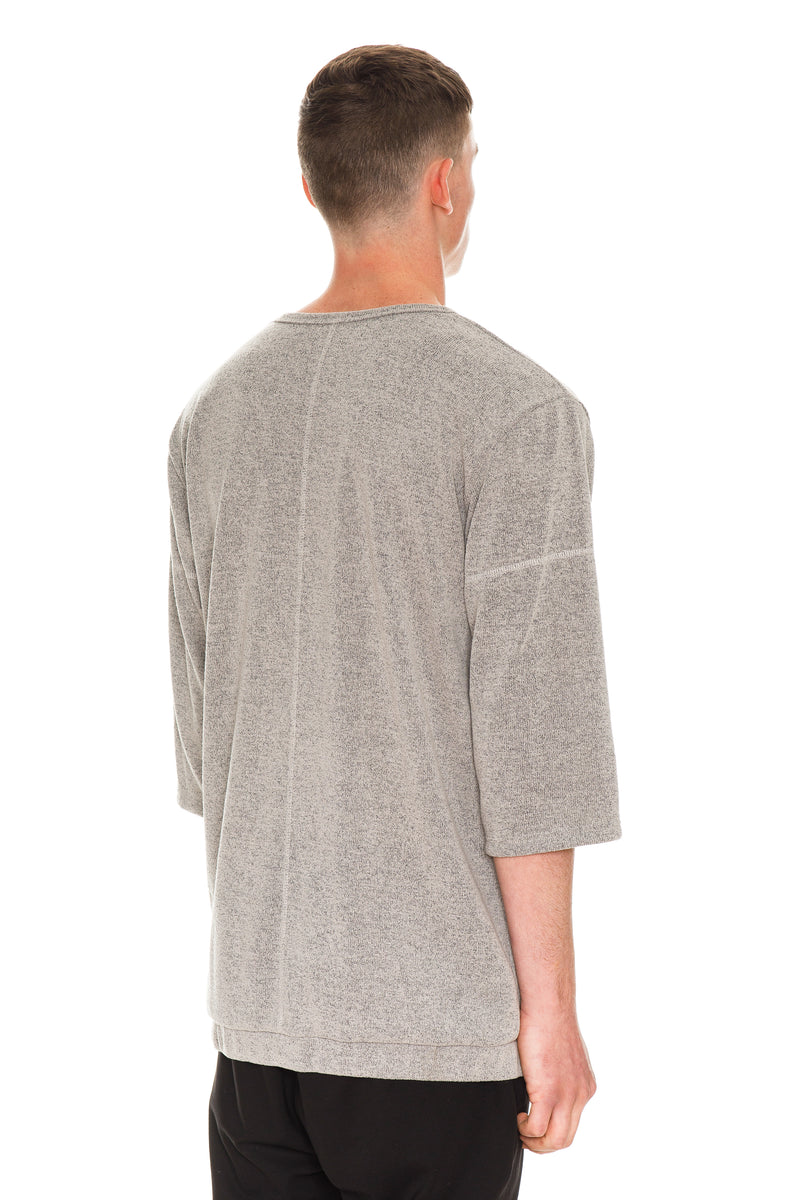 Grey Oversized Short Sleeve With Three Quarter Sleeves - Back View