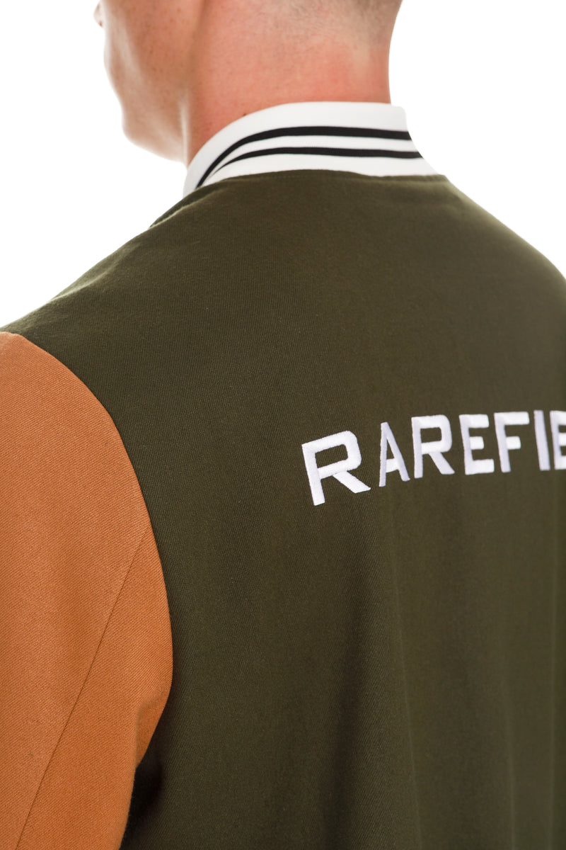 Letterman Bomber - Embroidered Logo In White At Back And Silk Lining