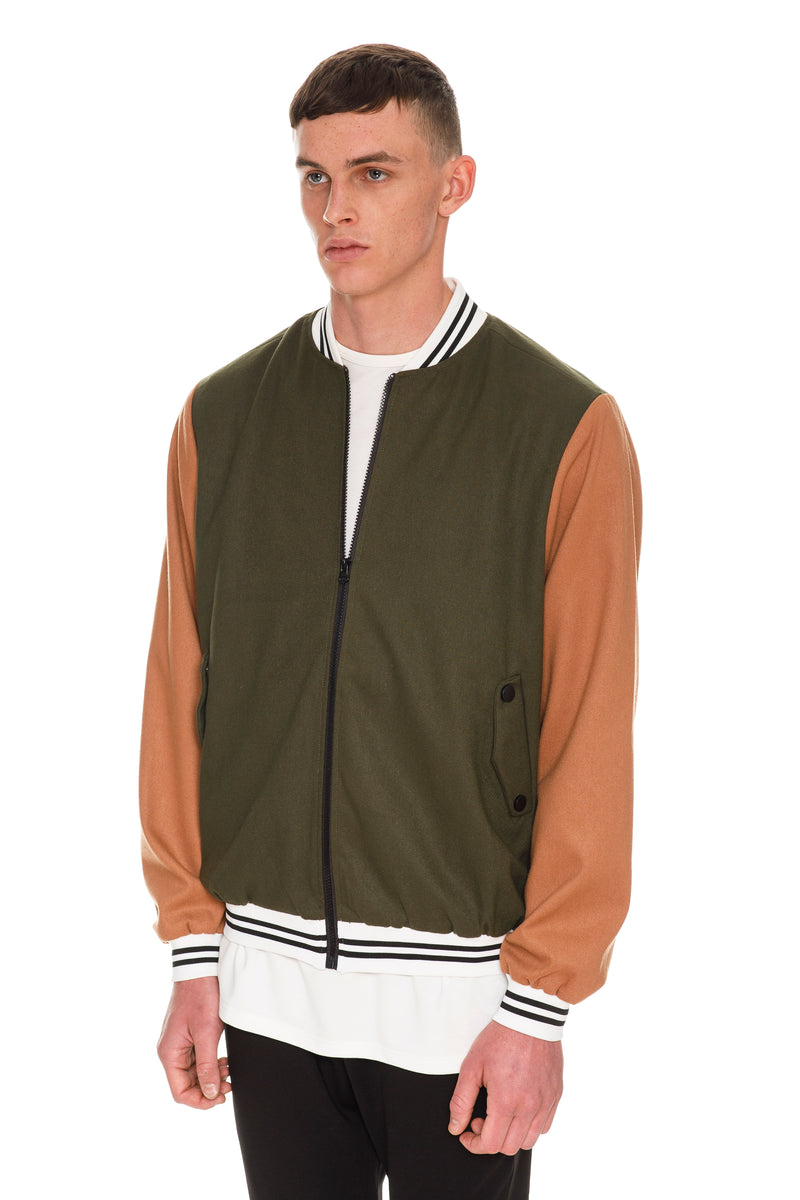 Letterman Bomber - Rib Knit Wool-Blend Stand Collar & Cuffs