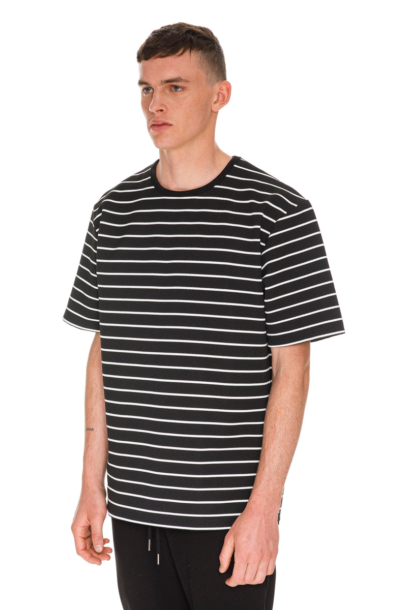 Oversized Stripe T-Shirt - Black & White Left Side View
