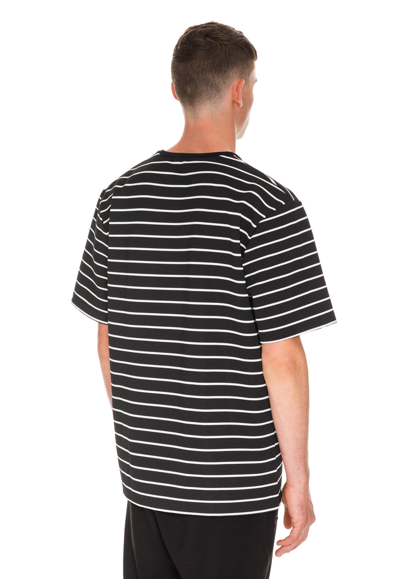 Oversized Stripe T-Shirt - Black & White Back Side View