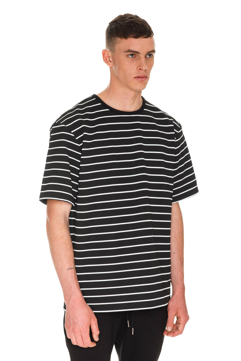 Oversized Stripe T-Shirt - Black & White Right Side View