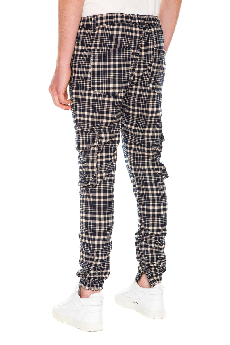Plaid Cargo Pants With YKK Zippered Vents - Back View