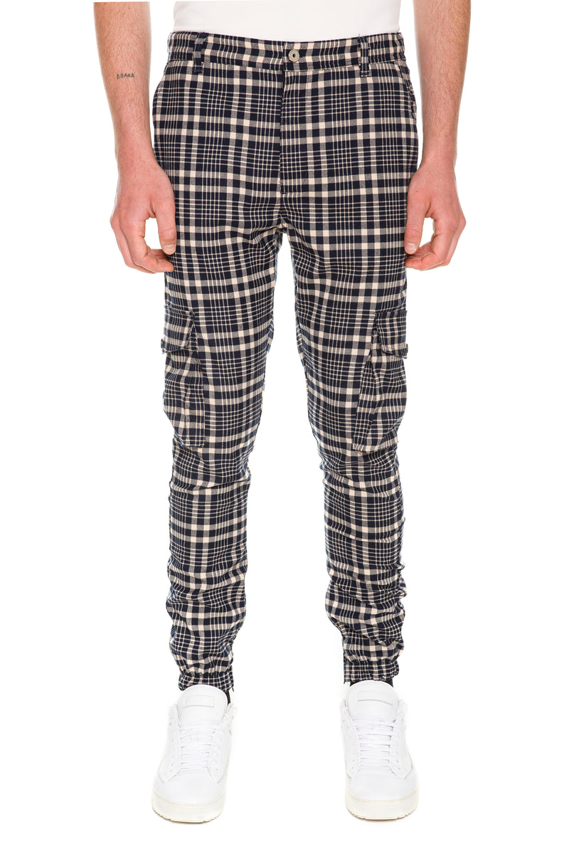 Plaid Cargo Pants With Six-Pocket Styling - Front View